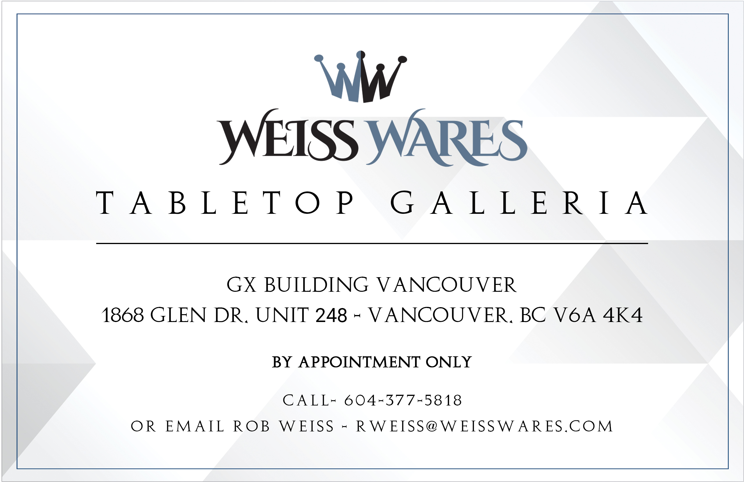 Weiss Wares Address and Contact